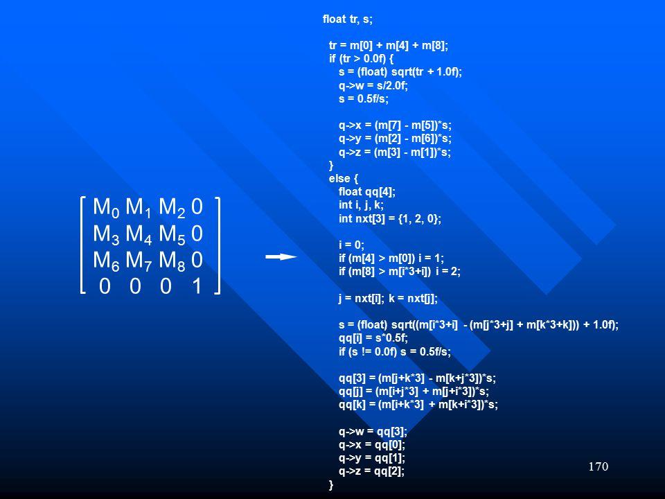 float tr, s; tr = m[0] + m[4] + m[8]; if (tr > 0.0f) { s = (float) sqrt(tr + 1.0f); q->w = s/2.0f;